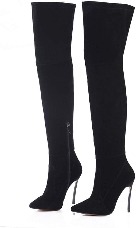 Kvinna över Knee Knee Knee stövlar Mode Bekväma Sexiga Stövlar Cow mocka läder skor Thigh höga stövlar  skön