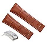 Leather Strap Compatible with Rolex Daytona 16518 116519 116520 Tan Ws 4Ds Short Steel Clasp