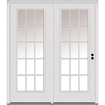 "National Door Company Z001604L Fiberglass Smooth, Primed, Left Hand in-Swing, Center Hinged Patio Door, Clear Glass Internal Grilles, 60""x80"""