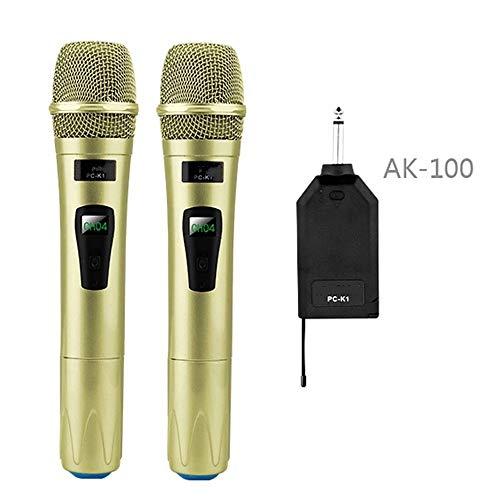 Microfoon Draadloze Microfoon Systeem Handheld LED Mic Speaker Met Draagbare USB Ontvanger Voor KTV Spraak Versterker Goud voor Vocale Opname, Podcasting, Streaming