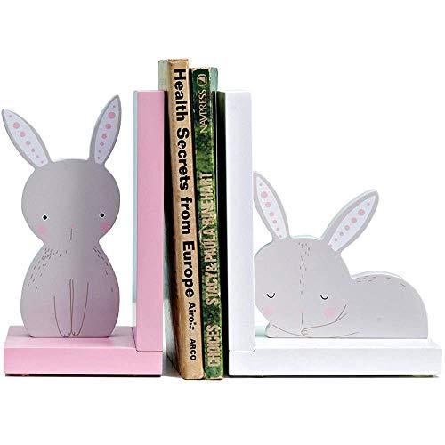 Extremos de libro, sujetalibros decorativos, bonitos sujetalibros de conejo de dibujos animados, extremos de libros de madera para estantes, sujetalibros de escritorio creativo, para el hogar y la of