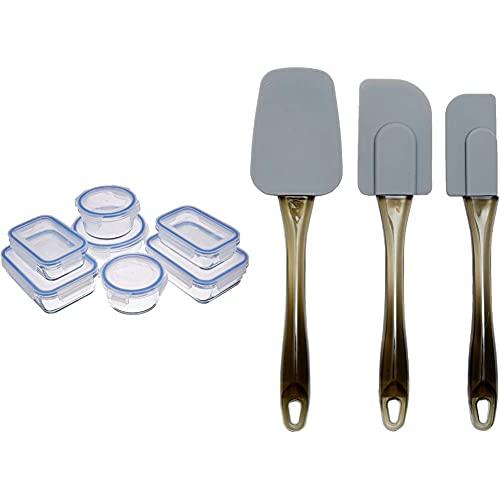 Amazon Basics - Contenitori per alimenti, in vetro, con coperchi, 14 pezzi (7 contenitori + 7 coperchi), senza BPA & Spatole in silicone, set da 3 pezzi