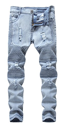 Boy's Skinny Fit Ripped Destroyed Distressed Stretch Fashion Biker Moto Denim Jeans Pants,Light Blue,8