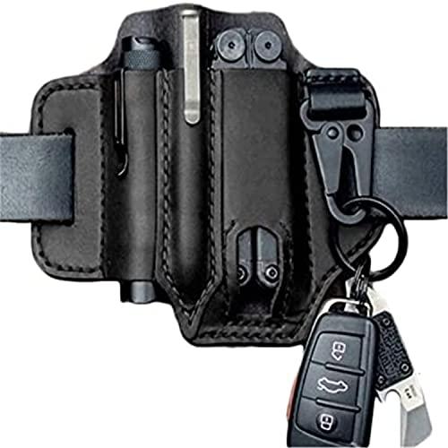 PETSBURG Multitool-Tasche für Gürtel, Schlüsselanhänger, Stifthalter, Taschenlampe für Gürtel und Taschenlampen-Etui, Multitool-Tasche für Camping, EDC-Ledertasche (schwarz)