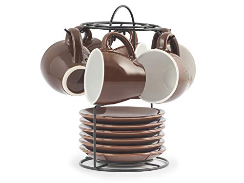 Royal Norfolk 729362 Set mit 6 Kaffeetassen, Stoneware, mit Untertasse, Braun, CC 90