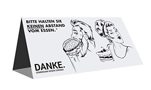 Aufsteller aus Pappe für Gastronomie | DinLang 210x110x65mm | Gemeinsam gegen Corona (Motiv 1)