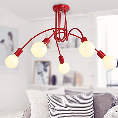 Plafoniera industriale 5 luci metallo vintage sospensione LED lampadario E27 ciondolo lampada retrò creativo illuminazione rosso