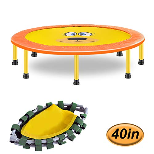 LGPNB 40in webbing trampoline foldable with handle, Children's indoor trampoline perception training, home fitness and weight loss,Static load 250kg-Yellow