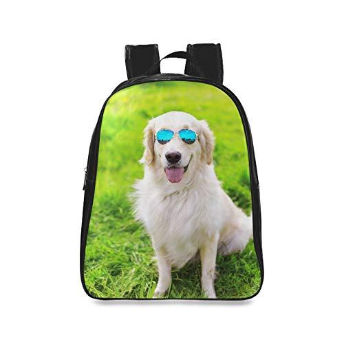 Golden Retriever Hund Sonnenbrillen sitzen auf Wandertaschen für Frauen College Bookbags Damen Mode Taschen drucken Reißverschluss Studenten Unisex Adult Teens Geschenk