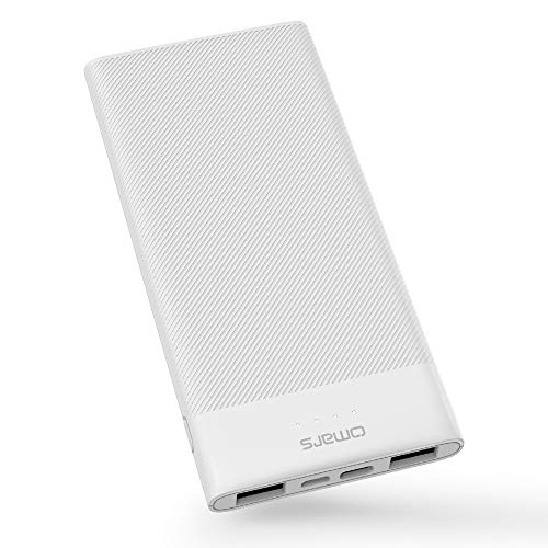 Portable Power Bank Omars 10000mAh USB C Battery Pack Slimline Portable Charger with Dual USB Output Compatible with iPhone Xs/XR/XS Max/X, iPad, Galaxy S9 / Note 9, Huawei Mate 20 Pro