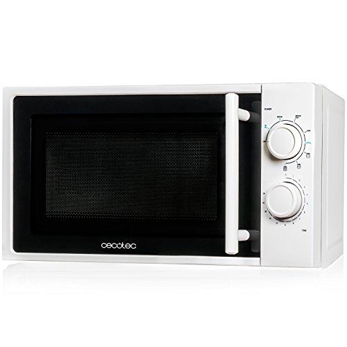 Cecotec Microondas White con Grill. Capacidad de 20l, 700 W de Potencia, grill de 900W, 9 Niveles Funcionamiento, Temporizador 30 min, Modo Descongelar, Acabado Blanco