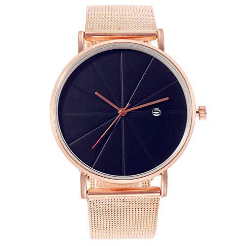MoGist Männer und Frauen Mit Dem Gleichen Kalender Sehen Legierung wasserdichte Armbanduhr (Rosy Gold)