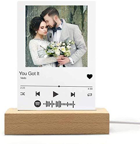 Luz de noche 3D personalizada - Arte acrílico personalizado con base para cumpleaños, bodas, aniversario, día de San Valentín, decoración de la cabecera (Luz cálida monocromática + base cuadrada)