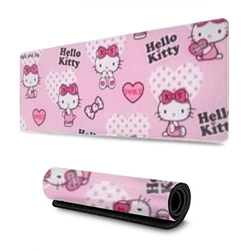 Alfombrilla para ratón Hello Kitty con borde cosido Base de goma antideslizante Deporte electrónico Alfombrilla de ratón Oversize Ordenador Portátil y Juegos para PC