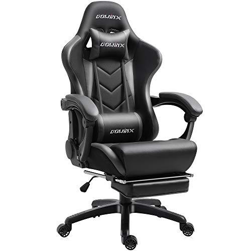 Dowinx Gaming Stuhl Ergonomischer Racing Stil Lehnstuhl mit Massage Lordosenstütze, Büro Sessel für Computer-PU-Leder-E-Sport-Gamer Stühle mit Ausziehbarem Fußraste (schwarz&grau)