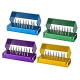 4 Pcs 30 Holes Dental Burs Holder Block Case Opening Box Dental Lab Aluminum Bur Case Organizer Random Color