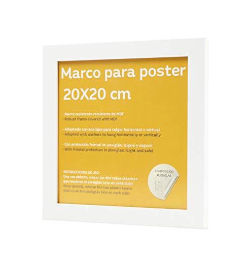 Marco blanco para fotos, posters, láminas, diplomas. Tamaño(20x20 cm).Robusto de MDF y frontal de plexiglas.Marco blanco para colgar de alta calidad.