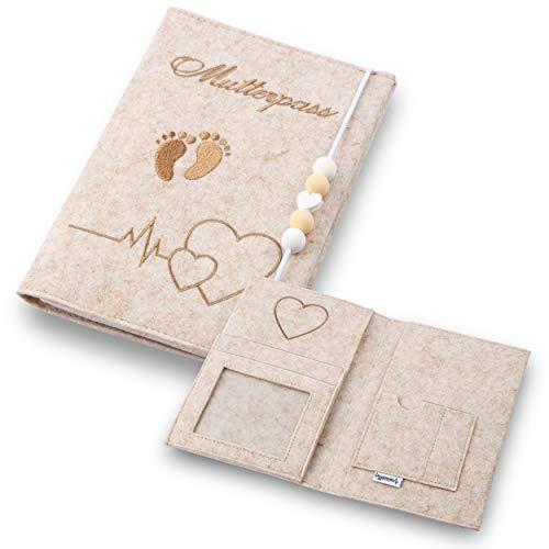 Lezzanna - Mutterpasshülle Beige aus Filz - Mutterpass Tasche - Dokumententasche - viele Fächer für Ultraschallbilder und vieles mehr - Geschenk für Schwangere - Organizer