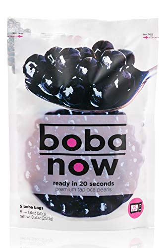 Boba Now - Instant Tapioca Pearls (Black) - Ready In 20 Seconds - 5 packs - Net Wt. 8.8 Oz - Brown Sugar Flavor - Perfect For Bubble Tea, Milk Tea, Smoothies and Ice Cream (1 Bag)