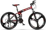 -Foldable Montaña 24/26 Pulgadas, Bicicletas de MTB con 3 Cortador de Ruedas, Black & Redsize: 24inches, Color: Cambio 27 etapas (Color : Red, Size : 24inches)