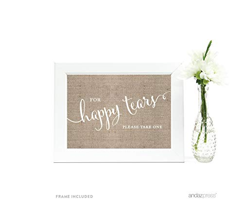 Andaz Press Wedding Framed Party Signs, Country Burlap Printed Cardstock, 5x7-inch, For Happy Tears Tissue Kleenex Ceremony Sign, 1-Pack, Includes Frame