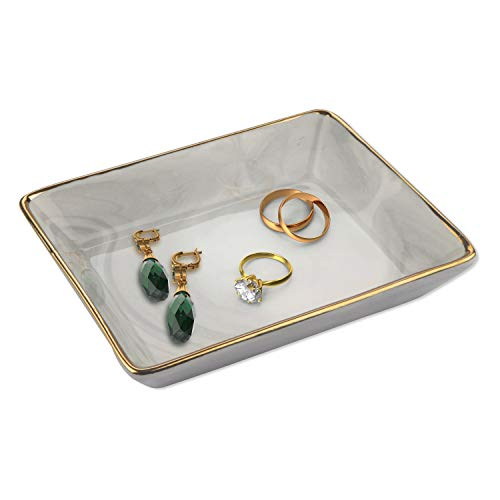 BELLE VOUS Ringschale Keramik (14x10,8x2.5cm) - Marmor Schlüssel Schale - Schmuckschale Tablett Grau Marmoriert mit Gold Rand - für Schlüssel, Ringe, Ohrringe, Parfüms, Armband, Accessoires