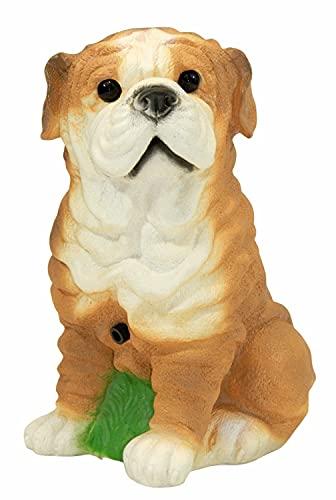OM Deko Garten Figur Tierfigur Mops klein mit Bewegungsmelder wau-wau aus Kunststoff Höhe 23 cm