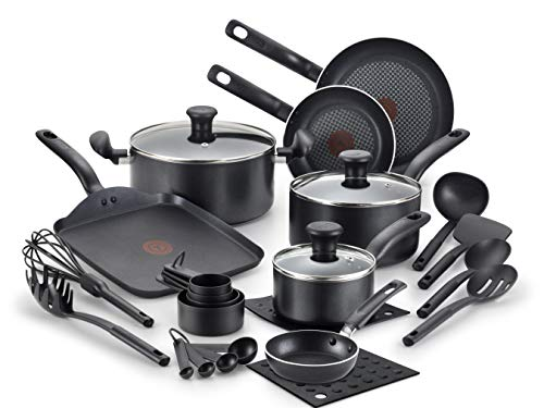T-fal Initiatives Nonstick Inside and Out, 20-Piece, Black