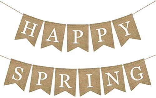 HAPPY SPRING Banner Banderines de arpillera Banner Guirnalda Letrero para suministros de decoración colgantes de fiesta de primavera