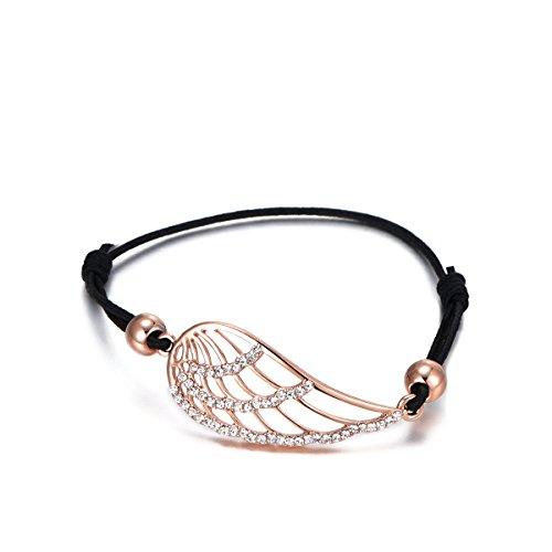 Frauen Bettelarmband, Lucky Angel Wings Armband Schwarz Einstellbare Wachsschnur Armreif Armreif mit Kristall (Roségold)