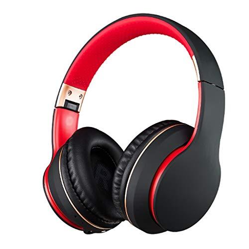 HBR Auriculares Auriculares Bluetooth sobre oído, Auriculares estéreo inalámbricos con Auriculares inalámbricos y con Cable con, TV/teléfono Celular/PC (Color : Black Red)
