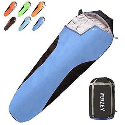 VERZEY Mummy Envelope Camping Sleeping Bag, Great for 3 Season, Hiking Outdoor Activities Waterproof Lightweight Sleeping Bags for Adults, Youth?Teens ?Kids & Boys