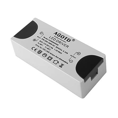 LED Leuchmittel Trafo 12V DC 2.5A, AGOTD 0-30W LED Treiber Netzteil Für MR11 G4 MR16 GU5.3 LED Birnen Lichtstreifen