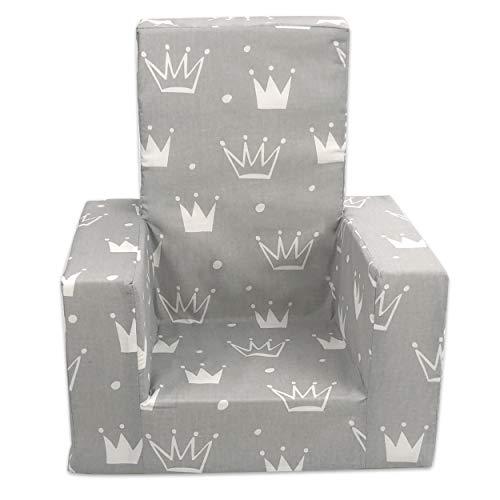THRONE Schaumstoffsitz, hohe Rückenlehne, kleiner Stuhl, Kleinkinder, Hocker | für Prinz | für Prinzessinnen | Sessel | 0-3 Jahre alt (grau - Thron)