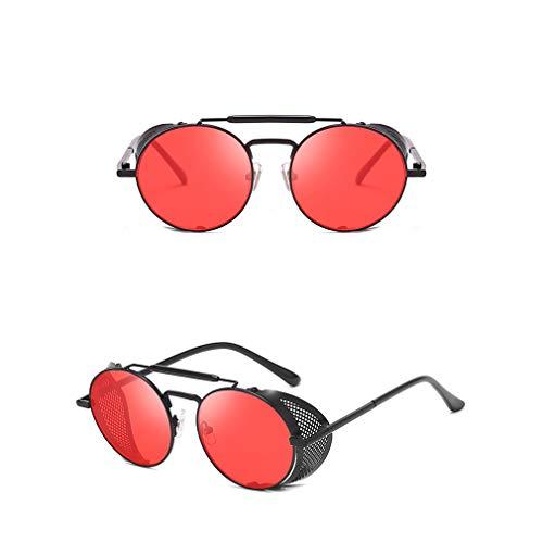 AidShunn Gafas de sol Steampunk UV400 Protección Retro Gafas Metal Montura redonda Parabrisas Gafas Mujer Hombres