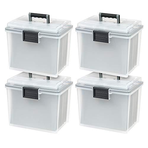 IRIS USA, Inc. UCB-HFB Letter Size Portable Weathertight File Box, 4 Pack, Clear