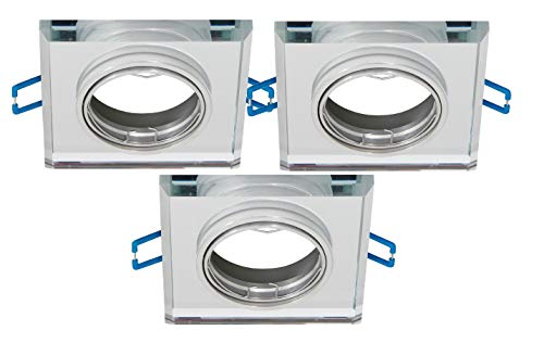 Trango Juego de 3 Diseño moderno empotrables en angular TG6729S-03, Luz empotrada, Proyectores del techo, centro de atención, Lámpara de baño de cristal espejo y Aluminio con toma GU10 230 voltios