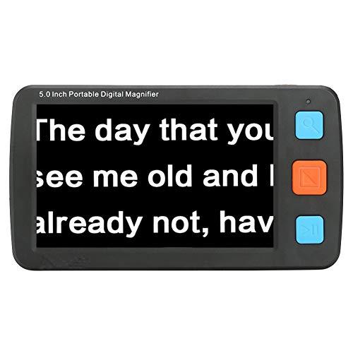 Videoingranditore Digitale Portatile Lente di ingrandimento per ipovedenti da 5.0 Pollici, Ausilio Visivo per la Visione Ridotta e la Cecità del Colore(Negro)