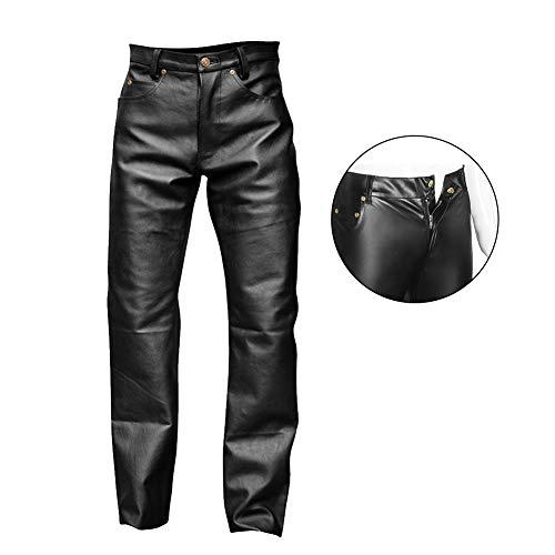 Fxwj Herren Leder Latex Lange Hosen Boxershorts Wetlook Pants Catsuit Unterwäsche S-XXL,Black,XXL