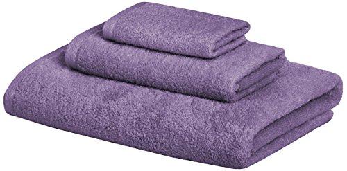 Amazon Basics Quick-Dry, Luxurious, Soft, 100% Cotton Towels, Lavender - 3-Piece Set