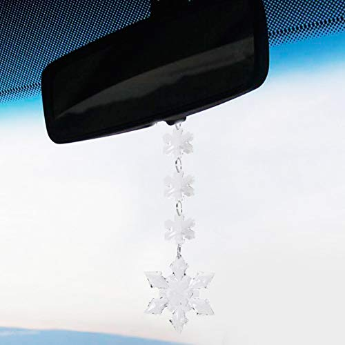 Emoshayoga Delicate Crystal Hanging Pendant for Car Decor(1 6.5cm six-pointed corner snowflake pendant)