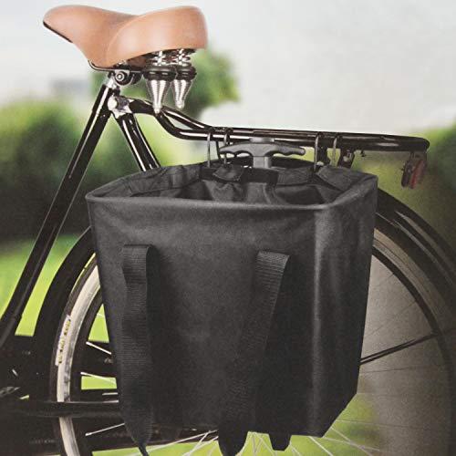 Multistore 2002 - Cestino per bicicletta e carrello per la spesa con parapioggia, colore: Nero