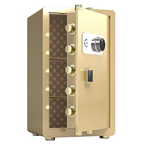 Cajas Fuertes Cajas Fuertes De Metal Resistentes Al Fuego, Cajas Fuertes De Oficina De Gran Capacidad, Disco De Bloqueo De Contraseña Mecánico Antirrobo (Color : Gold, Size : 38x34x60cm)