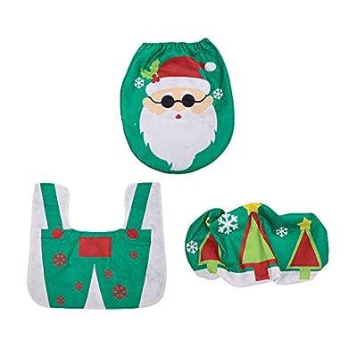 Slendima 3Pcs Christmas Snowman Santa Claus Toilet Seat Tank Cover Rug Set Bathroom Accessory Festival Decor