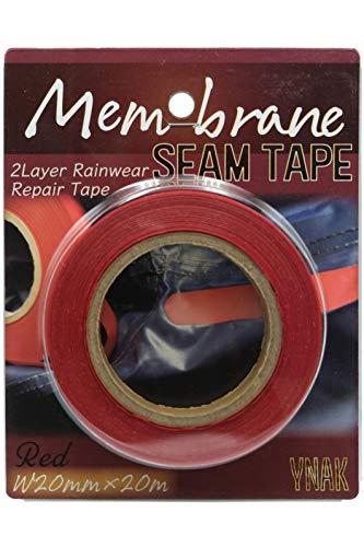 YNAK メンブレン シームテープ レインウエア 補修 テント不適正 2レイヤー適合 縫い目 リペア 防水 対策 メンテナンス 用 アイロン接着 幅20mm×20m ブラック クリア ブルー レッド (レッド,幅20mm×20m)