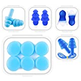 Silicone Earplugs, Noise Reduction for Sleeping and Studying, Waterproof for Swimming, Ear Pain Relief for Taking Airplane and Trains, 5 Pairs with Different Shapes, Reusable