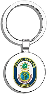 HJ Media US Navy USS Paul Hamilton DDG-60 Military Veteran USA Pride Served Metal Round Metal Key Chain Keychain Ring