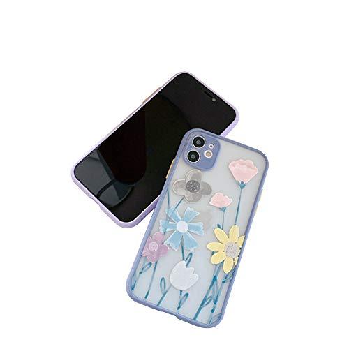 Compatible con iPhone 12/12 Mini/12 Pro MAX Funda de Silicona con Flores Diseño Patrón Lindo Carcasa Anti Rasguños Anti Arañazos Back Cover,Gris,12pro