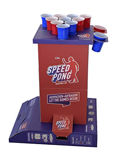 Speedpong Komplettset - Beer Pong 2 Go inkl. 12 Red & Blue Cups, Spielsäule und Bier Pong Bälle