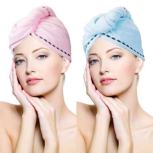 Cayyly 3 Pack Microvezel Haar Handdoek Wrap Super Absorbens Twist Turban Sneldrogend Haar Caps met Knopen Bad Loop Fasten Salon Droog Haar Hoed Roze Blauw Rose Rood